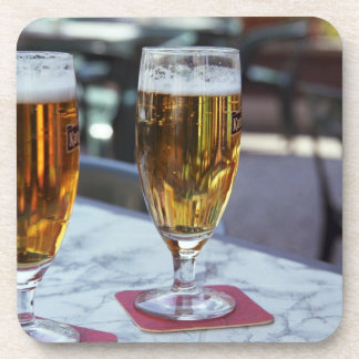 Chablis; two cool beers at 42 degrees hot summer drink coaster