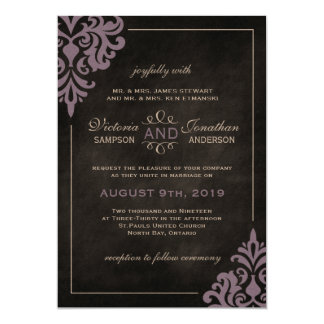 Chalkboard and Lilac Damask Wedding Invitations