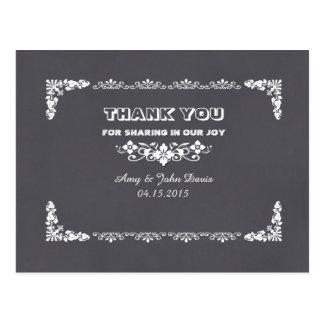 Chalkboard art deco wedding thank you notes deco3 postcard