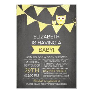 Chalkboard Bunting Owl Gender Neutral Baby Shower 13 Cm X 18 Cm Invitation Card