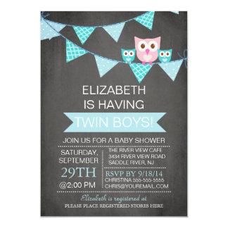 Chalkboard Bunting Owl TWIN BoyS Baby Shower 13 Cm X 18 Cm Invitation Card