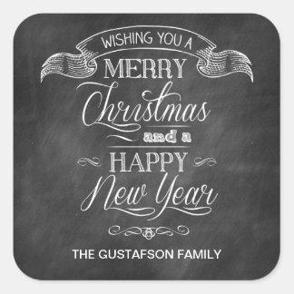 Chalkboard Christmas Wish Square Sticker