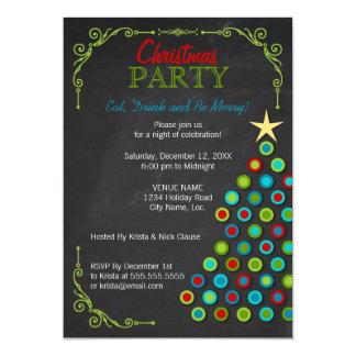 Chalkboard Colorful Christmas Tree Holiday Party 13 Cm X 18 Cm Invitation Card