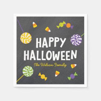 Chalkboard Frightful Creatures Happy Halloween Disposable Napkins