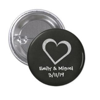 Chalkboard Heart Wedding Button Badge Favor