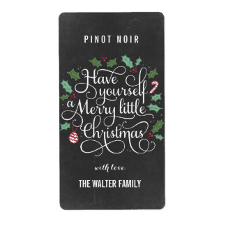 Chalkboard Little Christmas Wine Bottle Labels