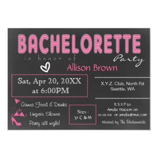 Chalkboard pink Lingerie Shower Bachelorette 13 Cm X 18 Cm Invitation Card