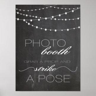 Chalkboard string lighs Photo booth wedding sign Poster