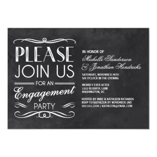 Chalkboard Typography | Engagement Party Invite