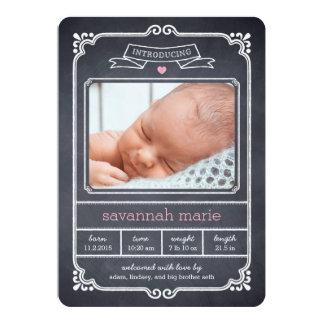 Chalked Frame Birth Announcement - Pink