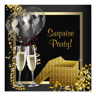 Champagne Confetti Black Gold Surprise Party 13 Cm X 13 Cm Square Invitation Card