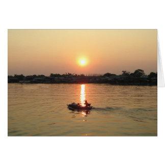 Chao Phraya River Sunset ... Ayutthaya, Thailand Greeting Card