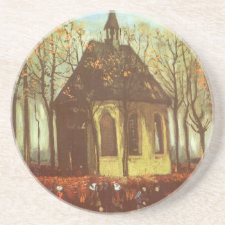 Chapel at Nuenen, Churchgoers by Vincent van Gogh Drink Coasters