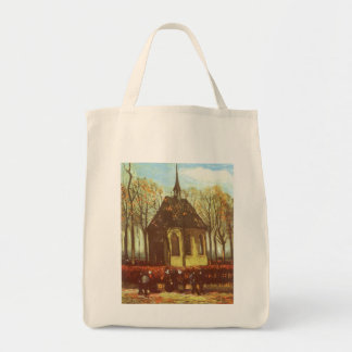Chapel at Nuenen, Churchgoers by Vincent van Gogh Grocery Tote Bag