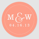 Charming Wedding Monogram Sticker - Coral