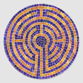 """Chartres Mosaic 1.5"""" Round Stickers (20)"""