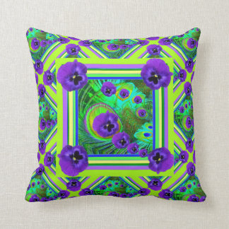 CHARTREUSE SPRING GREEN PURPLE PANSY FLORAL THROW CUSHIONS