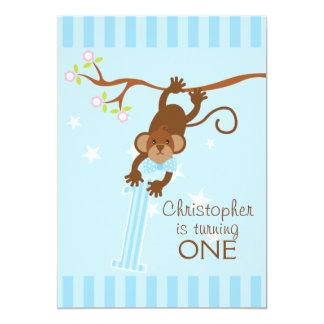 Cheeky Monkey Blue Stripes 1st Birthday Party 13 Cm X 18 Cm Invitation Card
