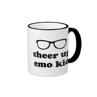 Cheer Up Emo Kid | Cute Hipster Glasses Ringer Mug