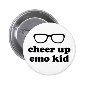 Cheer Up Emo Kid | Funny Cute Hipster Glasses 6 Cm Round Badge
