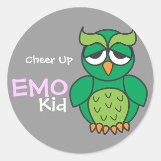 Cheer Up Emo Kid Round Sticker