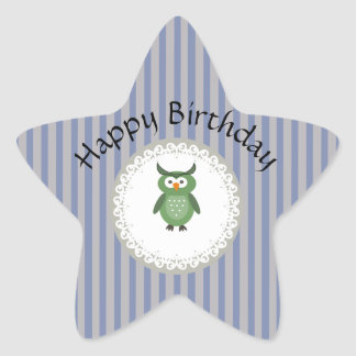 Cheerful cute owl doily lace star sticker