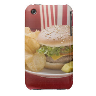 Cheeseburger with potato crisps and gherkin iPhone 3 Case-Mate cases