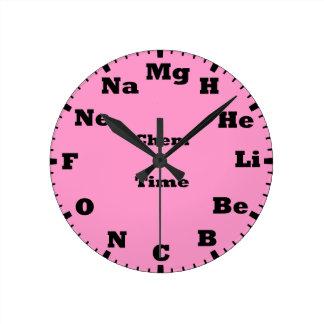 chemistry is pink wallclocks