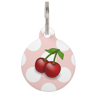 Cherries, Leaves, Stems, Fruits - Red Green Pet Nametags