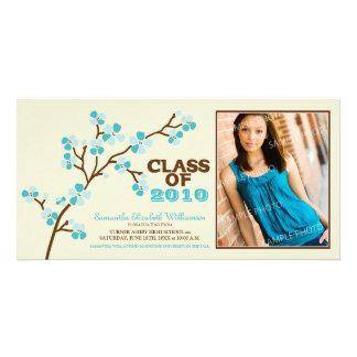 Cherry Blossom Graduation Announcement (aqua) Photo Cards