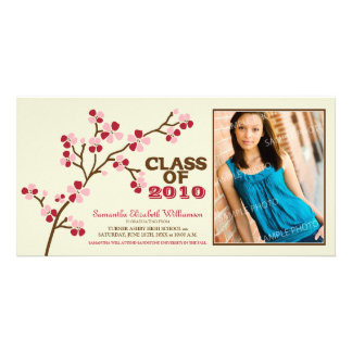 Cherry Blossom Graduation Announcement (red) Photo Card Template