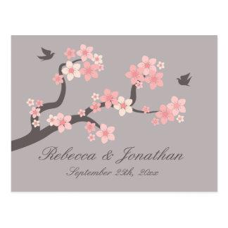 Cherry Blossom pink/grey RSVP postcard