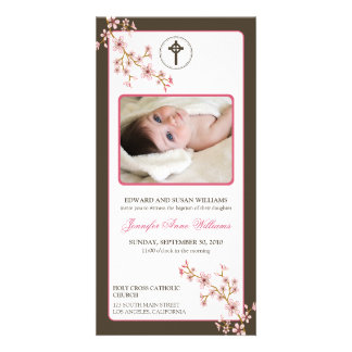 Cherry Blossoms Baptism Announcement (pink) Photo Cards