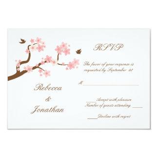 Cherry Blossoms on white RSVP 9 Cm X 13 Cm Invitation Card