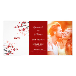 Cherry Blossoms Oriental Red Sakura Save The Date Personalised Photo Card
