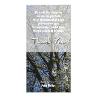 Cherry Blossoms Sympathy Thank You photo card