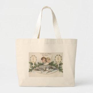 Cherub Angel Candle Evergreen Bough Jumbo Tote Bag