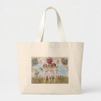 Cherub Angel Horseshoe Shamrock Jumbo Tote Bag