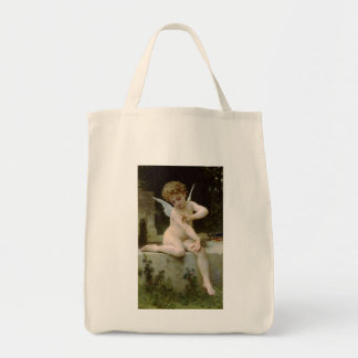 Cherub with A Butterfly Grocery Tote Bag