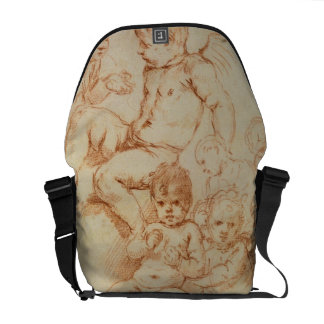 Cherubs, early 17th century (red chalk on paper) courier bag
