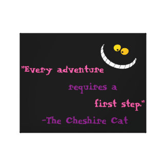 Cheshire Cat Quote Stretched Canvas Print