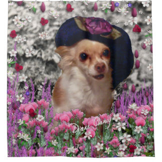 Chi Chi in Flowers, Chihuahua Puppy in Cute Hat Shower Curtain