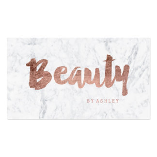 Chic beauty modern rose gold typography marble pack of standard business cards