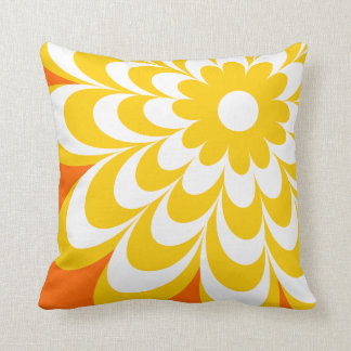 Chic Daisy Personalized Throw Pillow - Orange Throw Cushions