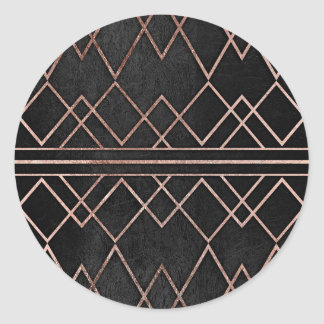 Chic & Elegant Faux Rose Gold Geometric Triangles Round Sticker
