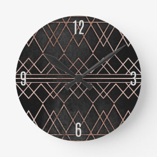 Chic & Elegant Faux Rose Gold Geometric Triangles Wall Clock
