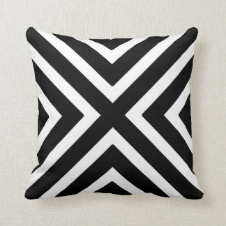 Chic Geometric Stripes in Black and White Throw Cushions