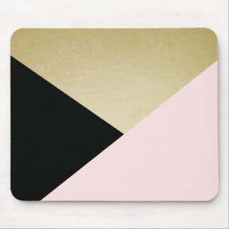 Chic Gold Black Pink Abstract Pattern Mouse Pad