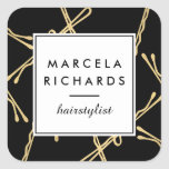 Chic Gold Bobby Pins Hairstylist, Hair Salon II Square Sticker