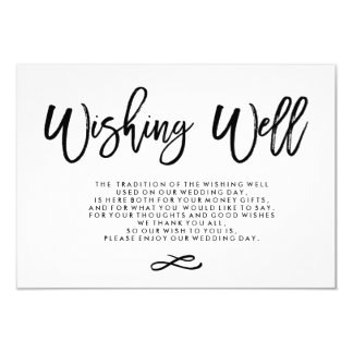 Chic Hand Lettered Wedding Wishing Well 9 Cm X 13 Cm Invitation Card